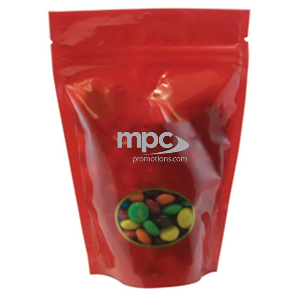 Item #WB2R-MM's Large Window Bag with Compare to M&M(r) candy - Red