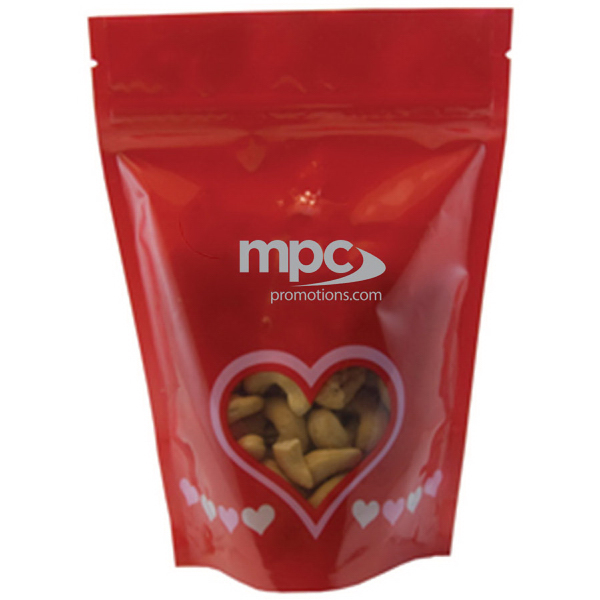 Item #WB2V-CASHEW Large Window Bag with Cashew Nuts - Valentine - Heart