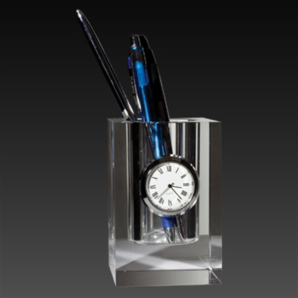 Item #CY-1180 Crystal Pen Holder with Clock