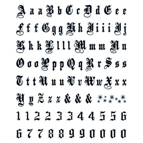 Old English Large Lettering Tattoos Item Let 06 Imprintitems