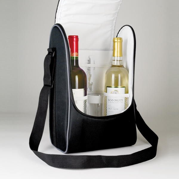 Item #B-7551 Poly Dual Wine Shoulder Cooler Bag