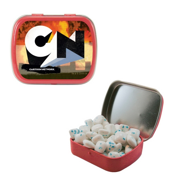 Item #ST02-SUG-GUM Small Hinged Candy Tin with Sugar Free Gum