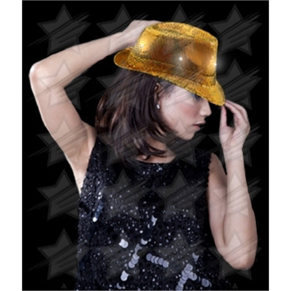 Item #O747-B BLANK LED Sequin Fedora - Gold