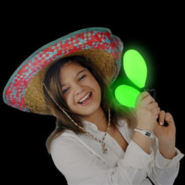 Item #AD761-B BLANK LED Maraca Supreme - Green 7 Inch