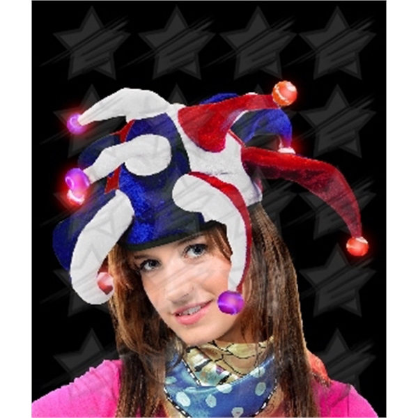 Item #O565-B BLANK LED Jester Hat - Red-White-Blue