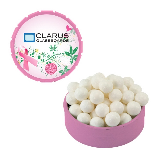 Item #SST15PI-BREAST Small Breast Cancer Awareness Pink Snap Top Tin With Mints