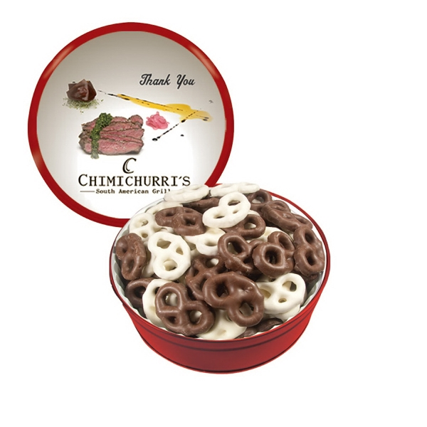 The Grand Tin with Chocolate Covered Mini Pretzels