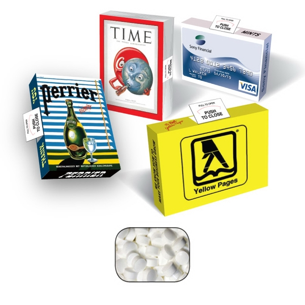 Item #AB25-SUG-MINTS Eco Friendly Advertising Box with Sugar Free Mints