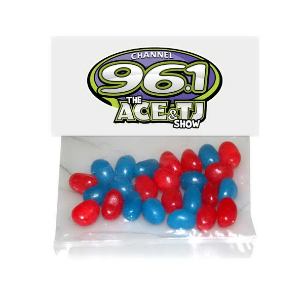 Item #HB30-BEANS Large Candy Bag (with Header Card) with Corporate Jelly Bean