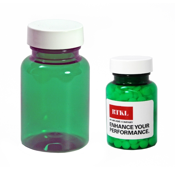Eco green clear pill bottle small filled with mints item for Small pill bottles
