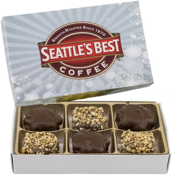 Item #RECBOX-C-GIFTS Rectangle Custom Candy Box with Turtles and Buttercrunch