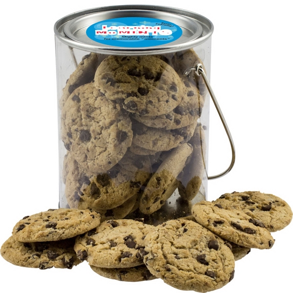 Item #CANCOOK-BAKERY Clear Paint Can Pail with Chocolate Chip Cookies