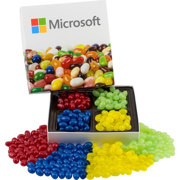 Item #SCBOX-A-JELLY Square Custom Candy Box with Corporate Color Jelly Beans