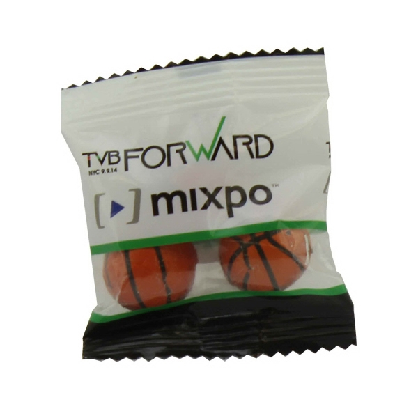 Item #ZS3-BASKETBALL Zaga Snack Bag With Chocolate Sports Balls - Basketballs