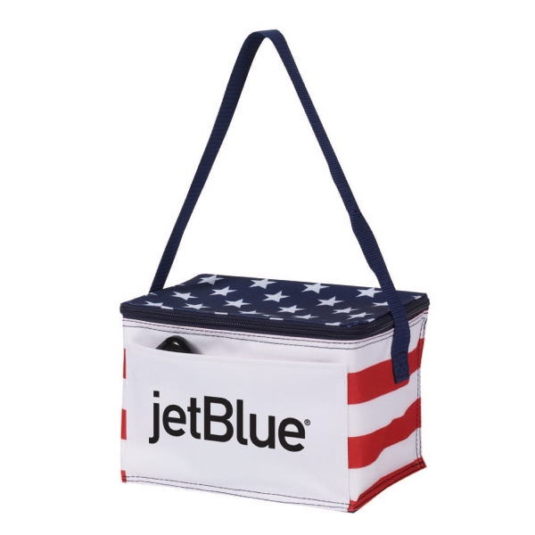 Item #B-6529 Poly 6 Can Stars & Stripes Cooler Bag
