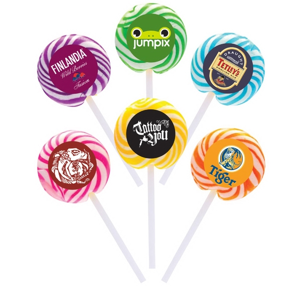 Item #SWY-LOLLIPOP Orange Swirl Lollipop with Round Label
