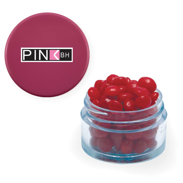 Item #TWIST-PI-RED Twist Top Container Pink Cap filled with Cinnamon Red Hots
