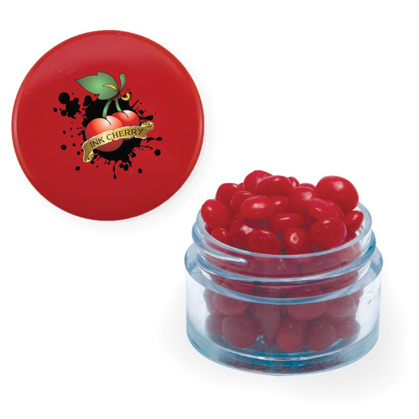 Item #TWIST-R-RED Twist Top Container Red Cap filled with Cinnamon Red Hots