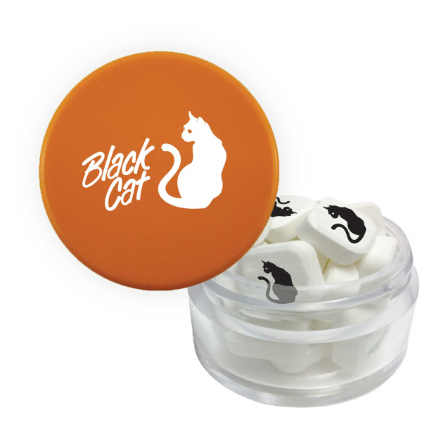 Item #MINTS-O-TWIST Twist Top Container Orange Cap filled with Printed Mints