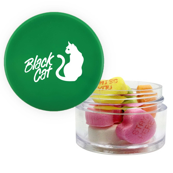Item #TWIST-G-HEARTS Twist Top Container Green Cap with Conversation Hearts