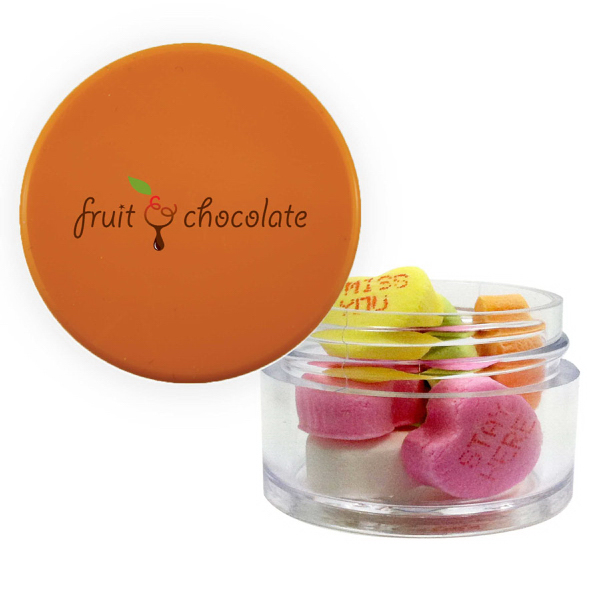 Item #TWIST-O-HEARTS Twist Top Container Orange Cap with Conversation Hearts