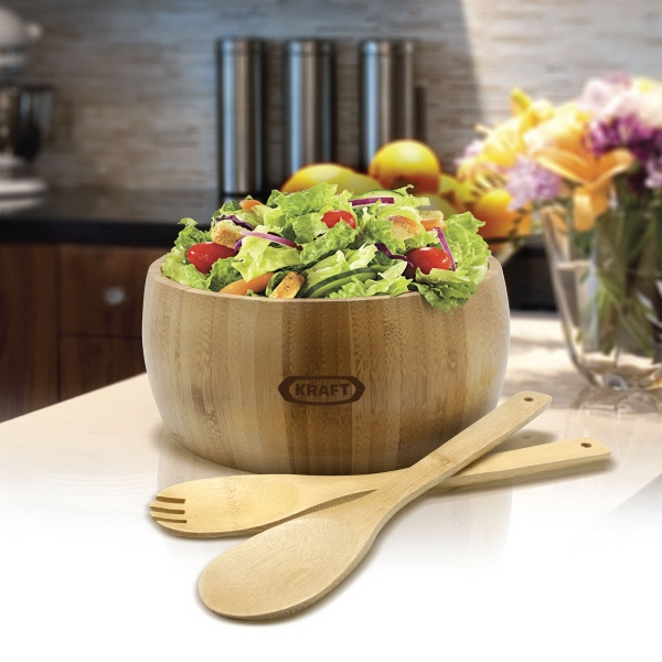 Item #SB104 Gourmet Bamboo 3-Piece Salad Bowl Set