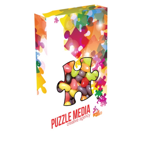 Item #PUZZ-BOX-JELLY Customizable Puzzle Box Packaging with Jelly Beans Candy