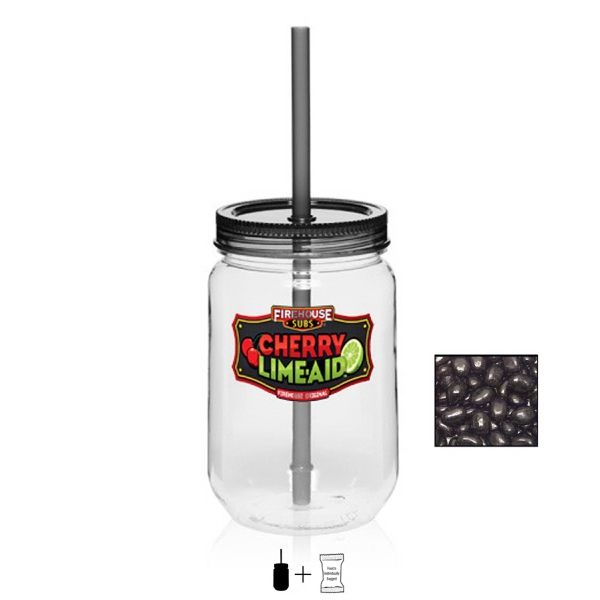 Item #JAR-BEANS Mason Jar 25 oz. Corporate Color Jelly Beans Candy