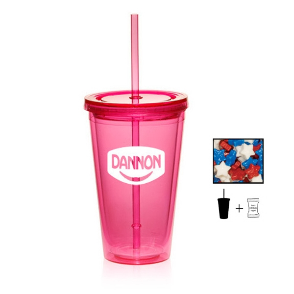 Item #TUMBLER-STAR Plastic Tumbler Cup Drinkware with Starlite Mints - 16 oz.