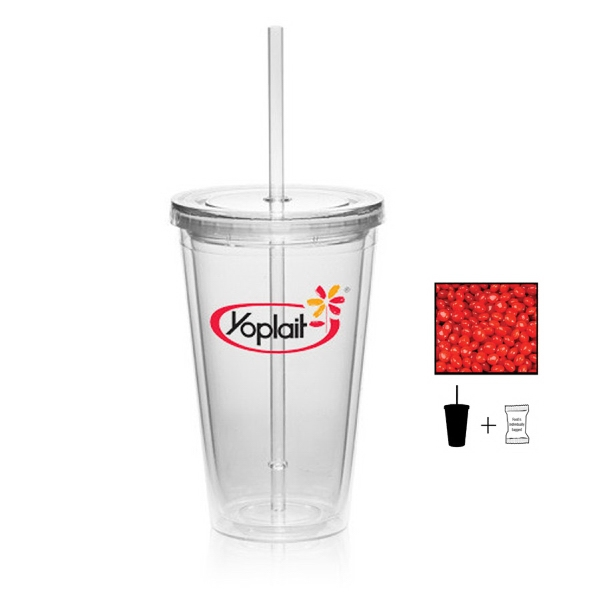 Item #TUMBLER-REDHOT Plastic Tumbler Cup Drinkware with Cinnamon Red Hots- 16 oz.