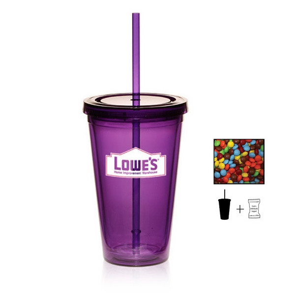 Item #TUMBLER-CANDY Tumbler Cup with Chocolate Littles - 16 oz. Drinkware