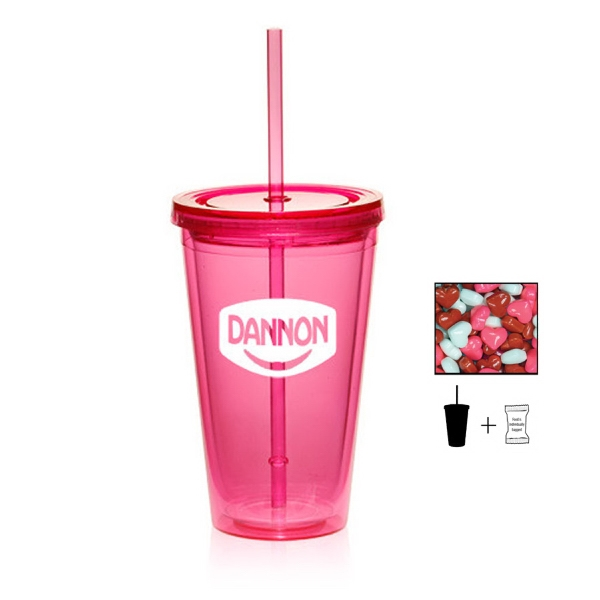 Item #TUMBLER-HEARTS Plastic Tumbler Cup Drinkware with Candy Hearts - 16 oz.