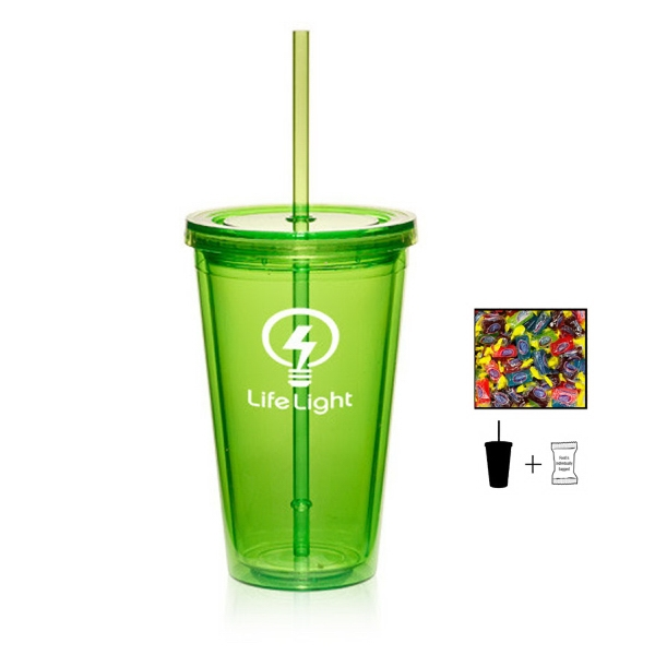 Item #TUMBLER-JOLLY Plastic Tumbler Cup Drinkware with Jolly Ranchers - 16 oz.