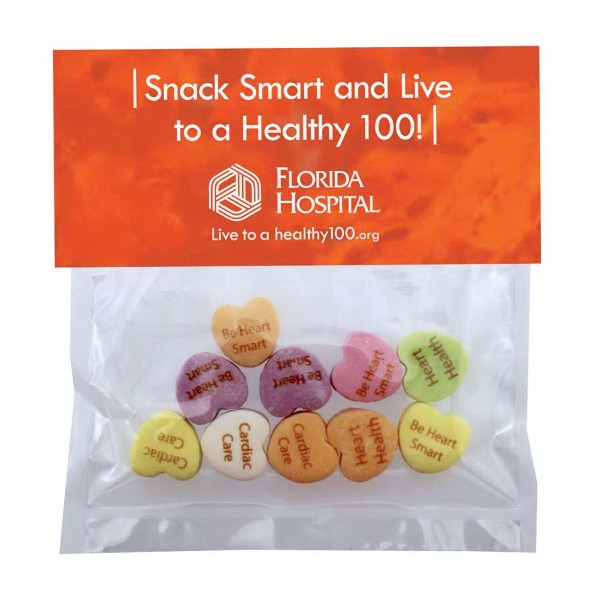 Item #HB19-C-HEARTS Large Candy Bag (with Header Card) with Conversation Hearts