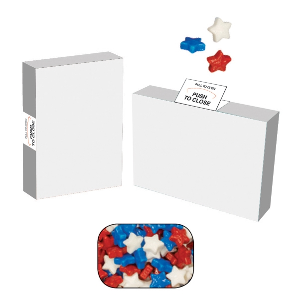 Item #AB25-STARS-BOX Eco Friendly Advertising Candy Box with Candy Stars