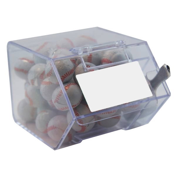 Item #CANDYBIN2-CB Large Candy Bin Dispenser with Chocolate Sports Balls