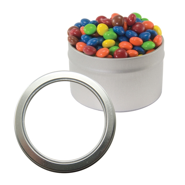 Item #CWT29-CHOC Silver Candy Window Tin with Corporate Color Chocolate
