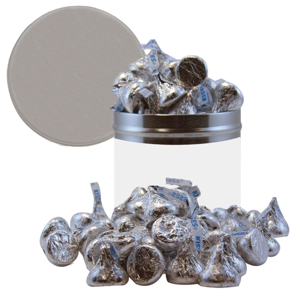 Item #HQT205-KISSES Half Quart Tin Container with Hershey Kisses Chocolate Candy