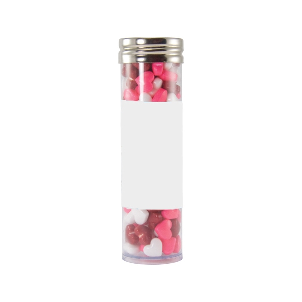 Item #LGPT17-HEARTS Large Gourmet Plastic Candy Tube with Candy Hearts