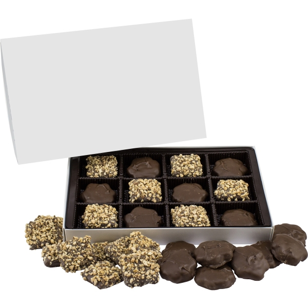 Item #LRECBOXB-GIFTS Large Rectangle Custom Candy Box with Turtles & Buttercrunch