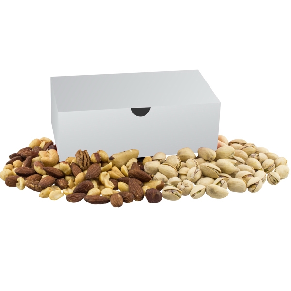 Item #MCHBOX-B-NUTS Medium Chest Box with Mixed Nuts and Pistachios