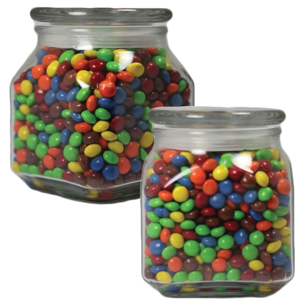 Item #MSCJ20-CL-JAR Medium Glass Apothecary Candy Jar with Chocolate Littles
