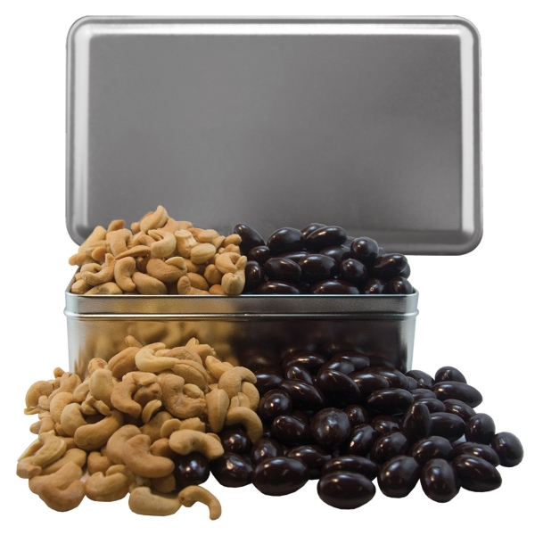 Item #RECGT8A-NUTS Rectangle Tin with Chocolate Covered Almonds & Cashew Nuts
