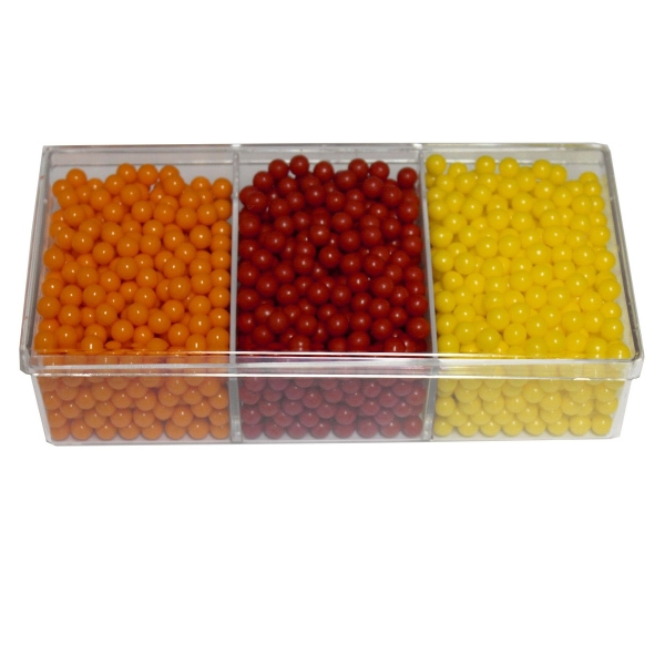 Item #SP3WAY-C-CANDY 3way Acrylic Show Piece Container with Colored Candy