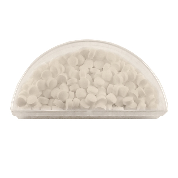 Item #SPHMN-SUGAR Acrylic Half Moon Container with Sugar Free Breath Mints