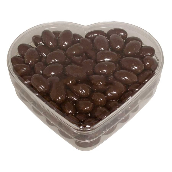 Item #SPHRT-ALMOND Acrylic Heart Show Piece with Chocolate Almond Nuts