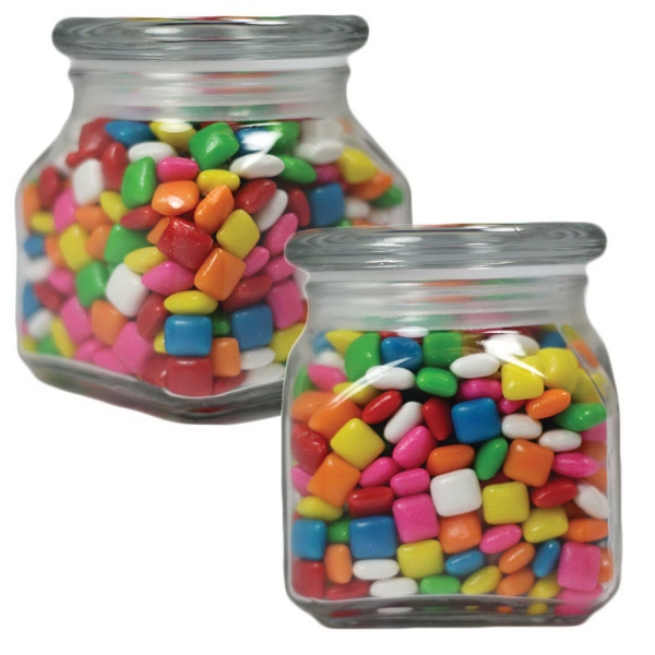 Item #SSCJ10-GUM-JAR Small Glass Apothecary Candy Jar with Chicle Chewing Gum