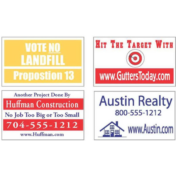 "Item #SN001 12"" x 18"" lawn and site signs"