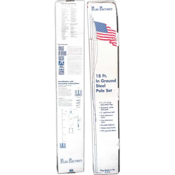 Item #BA400 18ft. steel white pole w/poly cotton 3ft. x 5ft. USA flag
