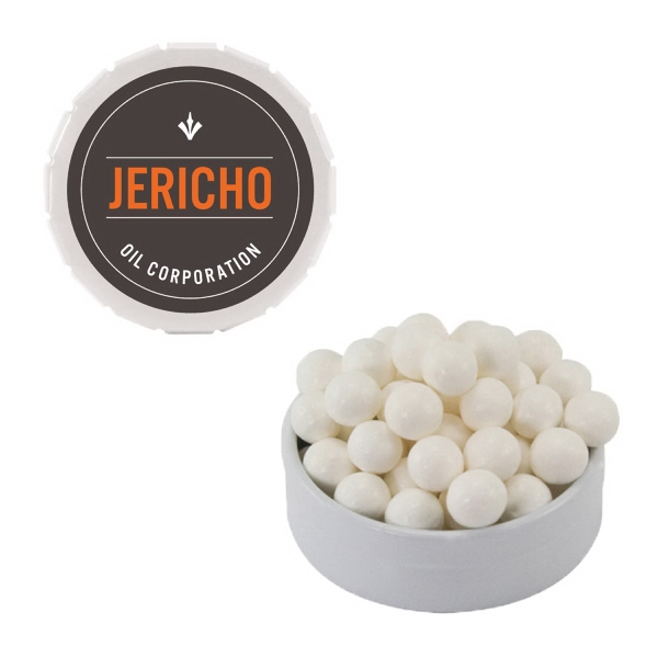 Item #SST15-FD White Snap-Top Mint Tin with Breath Mints- Breath Fresheners